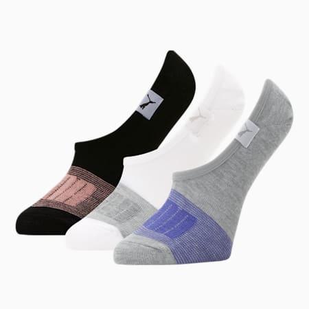 Chaussettes invisibles, femme [paquet de3], GRIS/BLEU, petit